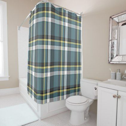 Classic Teal Blue Yellow Tartan Plaid Stripes Shower Curtain - retro gifts style cyo diy special idea
