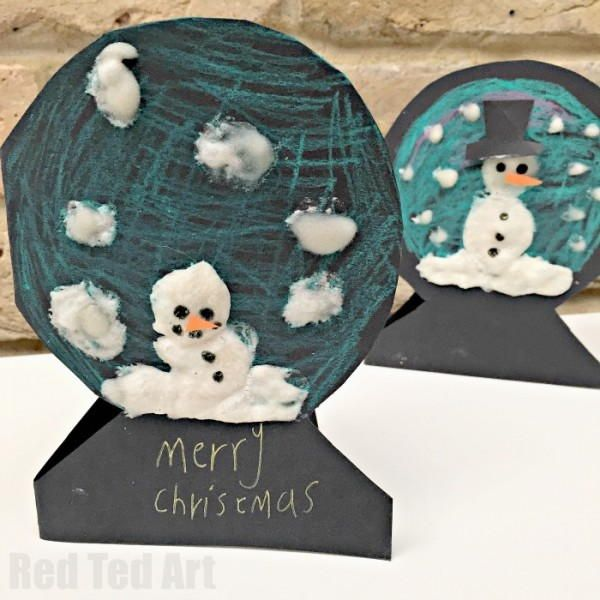 Christmas Cards Arts And Crafts Ideas Part - 38: Puffy Paint Snowman Snowglobe Cards. Homemade Christmas CardsKids Christmas  CraftsChristmas ...