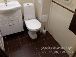 Укладка плитки на пол в ванной. Фото работы