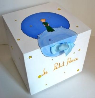 Wooden Baptism/ toy box hand-painted themed Little Princeat www.happyrooms.gr