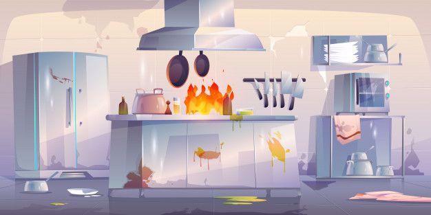 Cuisine Endommagee Au Restaurant Interi Free Vector Freepik Freevector Nourriture Restaurant Dessin Anime In 2020 Restaurant Interior Interior Cracked Wall