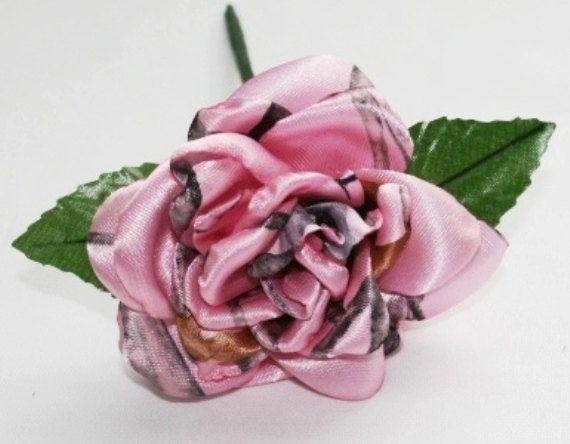 Pink Camo Rose Pink Snowfall Camo Rose Satin by Camotreasure