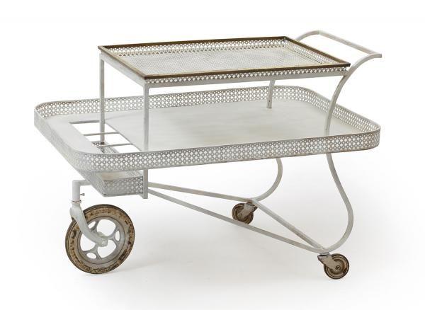 MATHIEU MATEGOT (1910-2001) - Table roulante - En métal et tôle de métal circa 1950