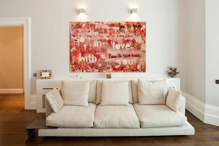 Mooi origineel huwelijkskado! Een Schilderij met de tekst van het favoriete nummer van het bruidspaar.