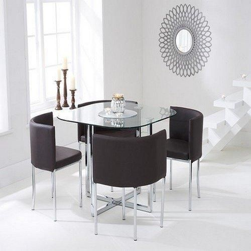 Shop The Algarve Glass Stowaway Dining Table With Black High Back Stools At Oak Furniture Superstore Quick Delivery APR Available