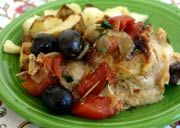 Pollo Brasato con Basilico e Olive - Braised Chicken with Basil and Olives