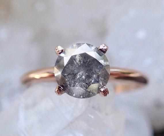 Salt and Pepper Diamond, Raw Diamond Engagement Ring, Grey Diamond Ring, 14k Gold, Prong Setting, Conflict Free, Rustic Diamond