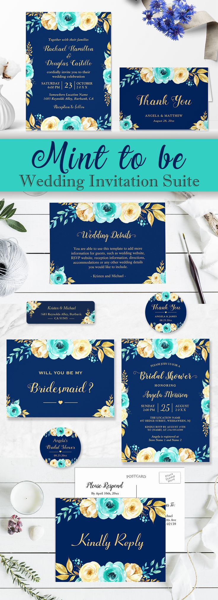 destination wedding invitation rsvp date%0A Navy Blue  u     Teal Mint Gold Floral Wedding Invitation Suite