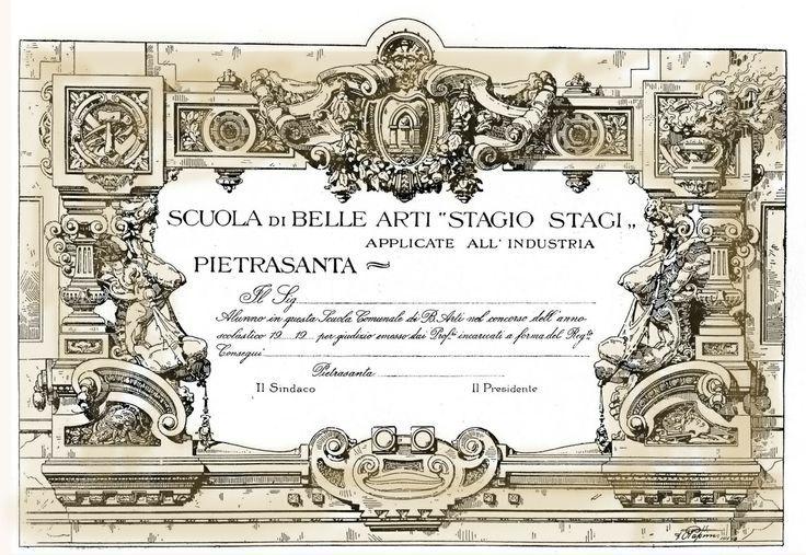 """Diploma del 1915, opera dell'insegnante di Architettura prof. Ottavio Papini (1875-1945). Proveniente da Genova, insegnò alla Scuola di Belle Arti (applicate all'industria) """"Stagio Stagi"""" di Pietrasanta dall'a.s. 1911/12 al 1922/23. Flora-Paoli, """"I 130 anni..."""", pp.77-80, 84-85, 93,99."""