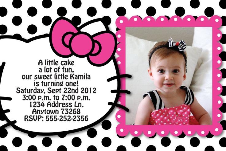 Hello Kitty Inspired Polka Dot Birthday Party Custom Invitation Or