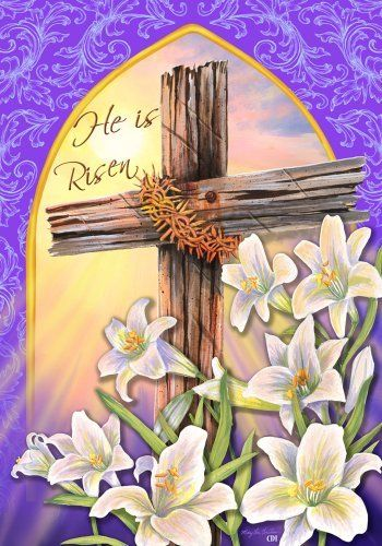 He is risen easter religious cross lily house flag