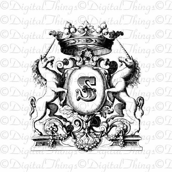 French Crest Monogram Initial Crown Unicorns Wall Decor Art