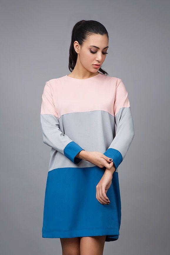 Eugenia Samara in 3 coloured mini dress. find it online at www.disu.gr