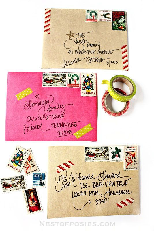 A fun and creative way for addressing Christmas Envelopes. Use washi tape, vintage stamps and stickers to make your Christmas cards stand out!