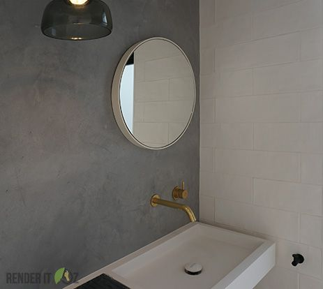 modern and edgy ensuite bathroom design using floor to ceiling tadelakt renderitoz