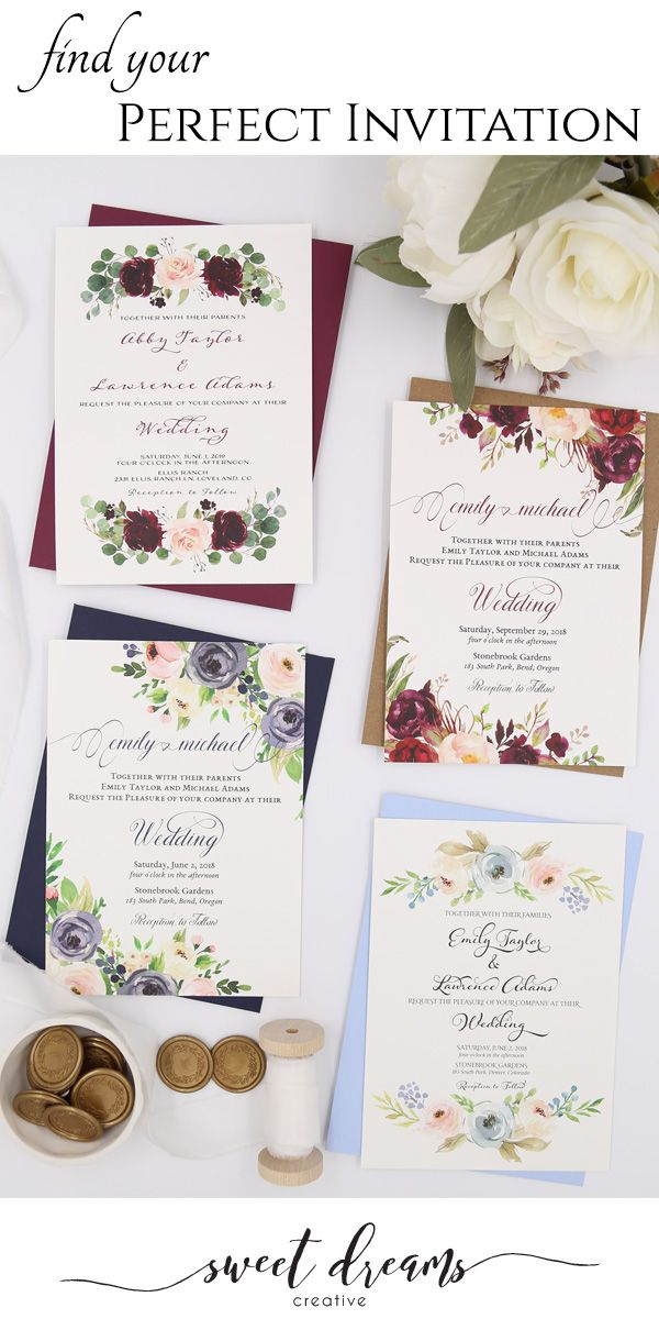 Floral Wedding Invitations Wedding Invitations Diy Wedding Invitations Floral Wedding Invitations