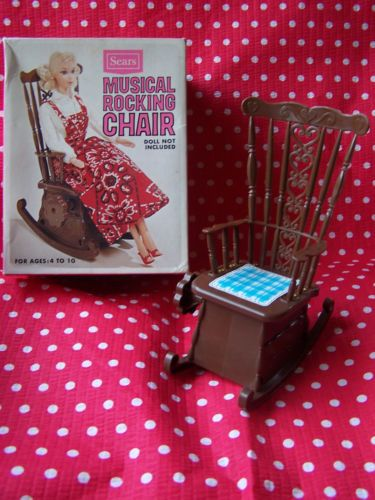 Vintage Sears Musical Rocking Chair Barbie Doll Furniture