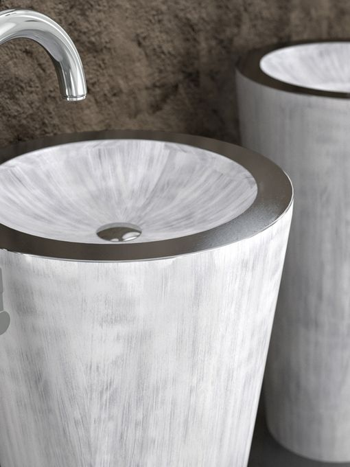 Unique Designer Sinks sinks gallery offers a breathtaking selection of artisan crafted designer sinks for unique kitchen and bath interiors browse our vessel sinks today Alumix Tom Tom White Silver Freestanding Sink This Unique And Attractive Design Employs Alumix An