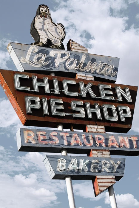 Chicken Pie Shop sign in Anaheim California......... seriously 5 minutes away from my child hood home, so YUMMY!