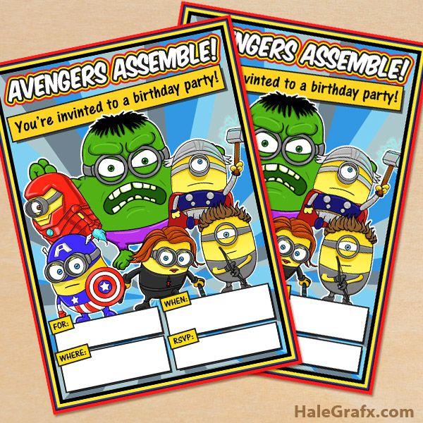 FREE Printable Minion Avengers Party Invitation