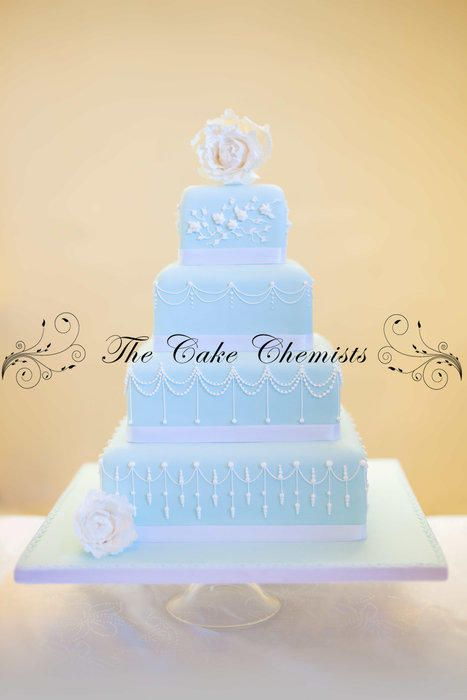 White Peony and Duck Egg Blue Square Wedding Cake - Cake by The Cake Chemists