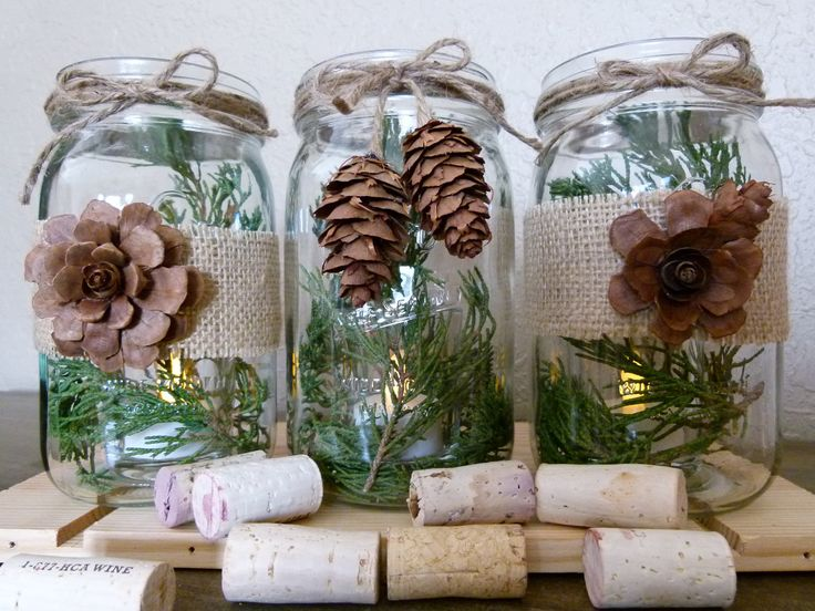 Rustic Burlap and Pine Cone Mason Jar Center Piece. $24.00, via Etsy.