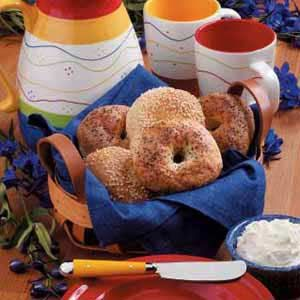 Homemade Bagels Recipe -I always wanted to make my own bagels, so I searched to find a recipe I could try. For variation and flavor, I sometimes add cinnamon and raisins or honey and sesame seeds to the dough.