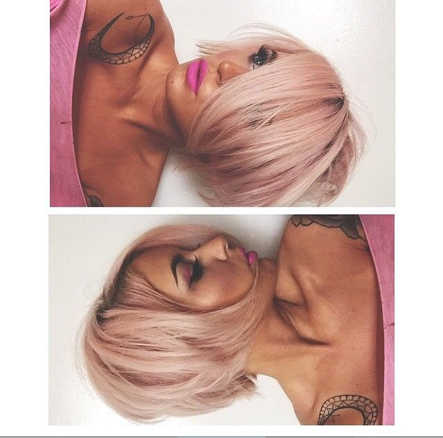 Pastel Pink Short Bob, Long Bangs
