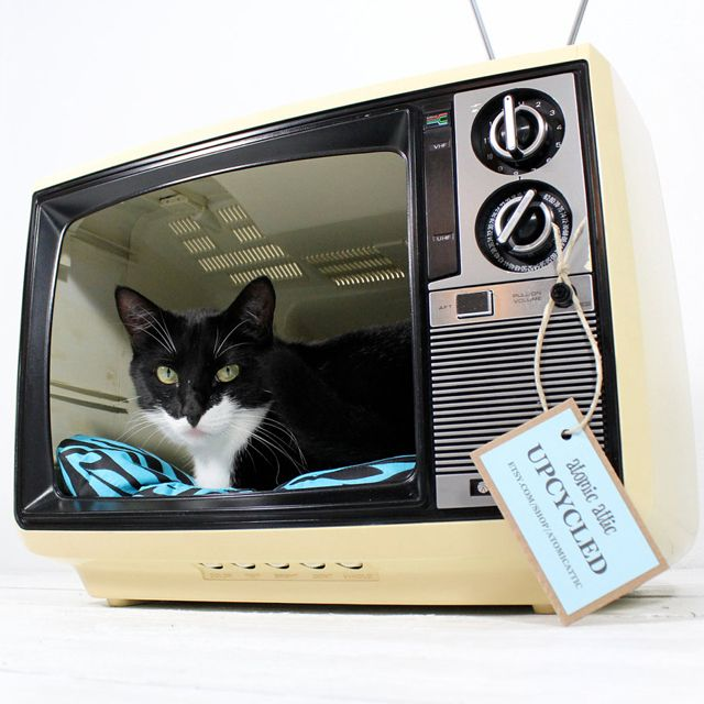 Upcycled Vintage Sanyo TV Pet Bed