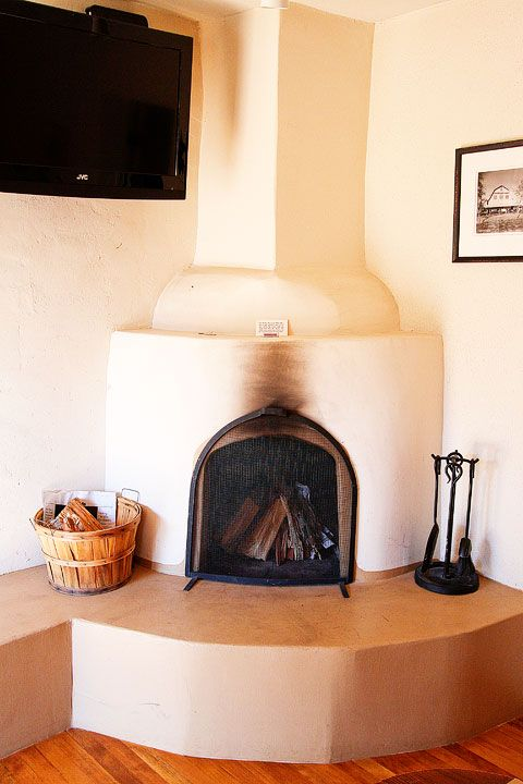 Simple, Southwestern fireplace