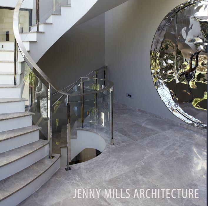 stairs, front door, marble tiles