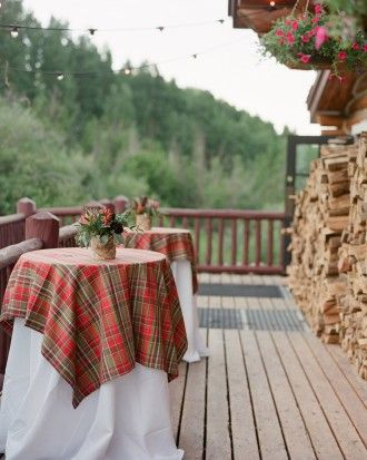 This bride bought up all the tablecloths she could around Christmas-time to create the perfect mountain atmosphere at cocktail hour.