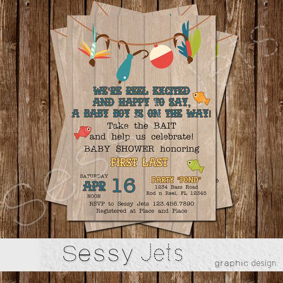 Take the Bait and Celebrate - Fishing Baby Shower Invite- Fish Outdoor Fisherman