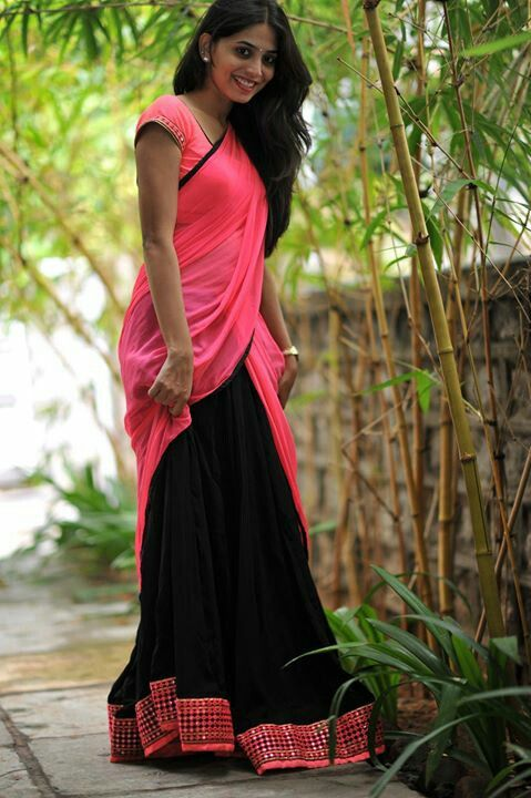 Fab pink and black halfsaree