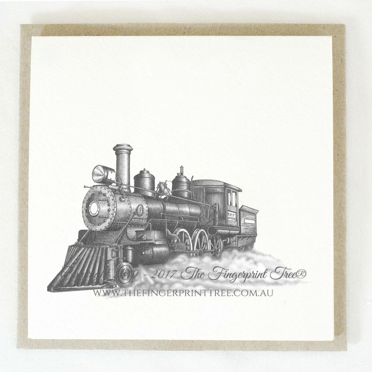 Gift card - Steam train:  Cards! by The Fingerprint Tree® is our couture range of gift cards featuring illustrations by Ray Carter, Chief Artist & Founder.  Made-to-order and Giclée printed at our Southern Highlands studio.   We sell direct to the public and to retailers.