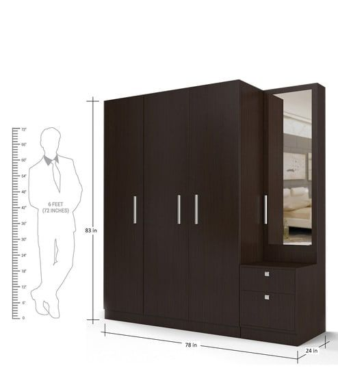 80ead5cb90d Three Door Wardrobe with Dresser in Country Oak Dark Finish in PLPB by  Primorati