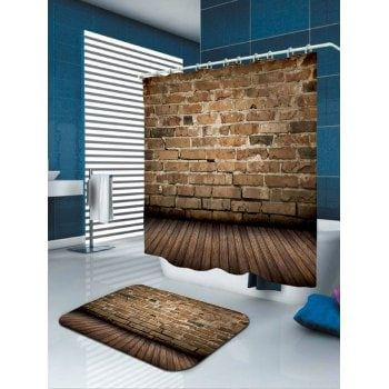 Wooden Natural Stone Brick Print Fabric Shower Curtain