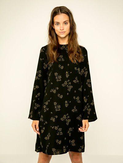 Bedrukte lange mouw jurk | PIECES