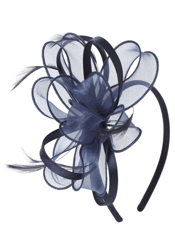 Navy Organza Satin Loop Headband Fascinator - BHS