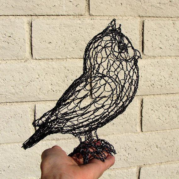 Wire owl sculpture