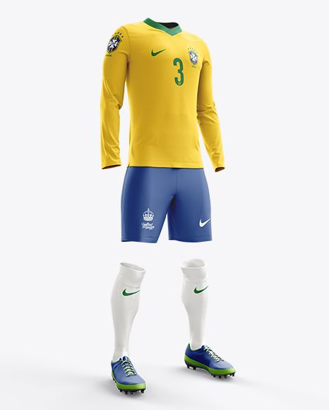 Football Kit With V-Neck Long Sleeve Mockup / Half-Turned View. Preview