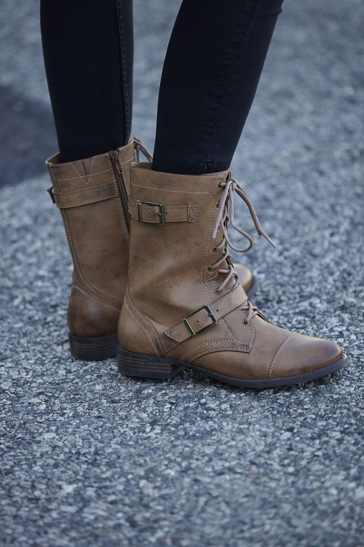 Combat boots with a lace-up front