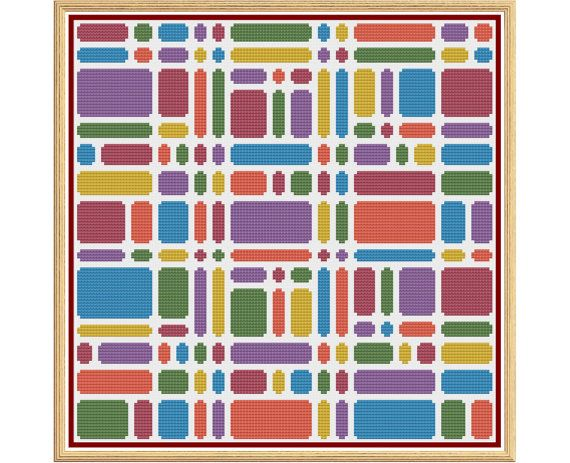 Geometric 7 - Bricks - Counted Cross Stitch by HornswoggleStore, $5.00 (modern, rainbow, abstract)