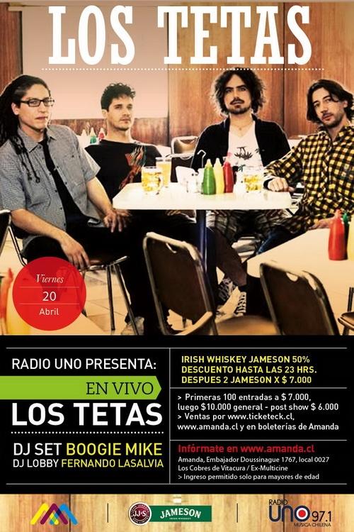 Esta noche Los Tetas en vivo en el Amanda http://www.productonacional.cl/los-tetas-en-vivo-en-el-centro-cultural-amanda