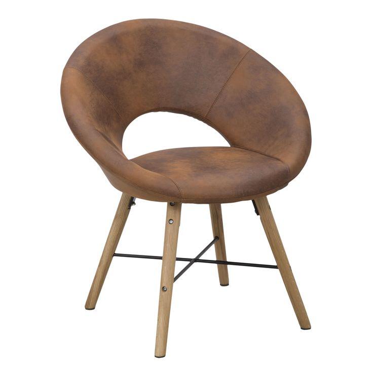 Poltronain legno di faggio, con seduta imbottita rivestita in ecopelle.