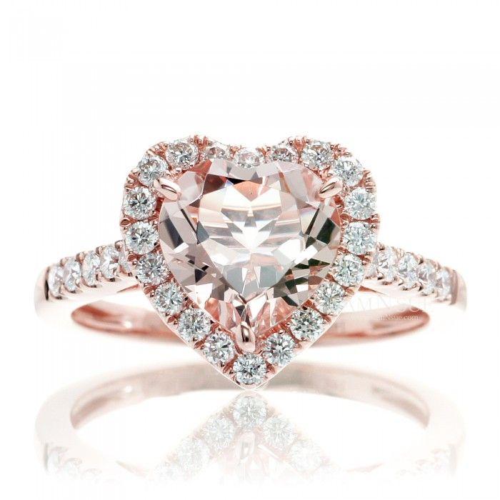 Heart morganite engagement ring diamond halo band rose gold
