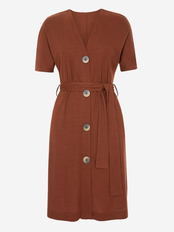 fine quality new release discount sale Half Sleeve Button-Down Midi Dress In Brown | Stylecon ...