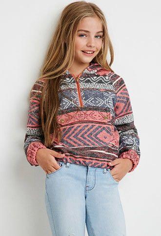 Girls Abstract Print Hooded Pullover (Kids)   Forever 21 girls - 2000142617