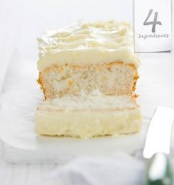 1, 1, 1, 1 CAKE  Serves 8.       1 cup (120g) coconut  1 cup (250ml) milk  1 cup (200g) caster sugar  1 cup (175g) self raising flour  Preheat oven 180C. Place all ingredients in a bowl and mix. Line a loaf tin with baking paper and pour mixture in. Bake for 40 minutes.  Optional: Serve warm with butter or cold with Cream Cheese Frosting (see: You Tube: Cooking with Kim) … Deliciously simple!