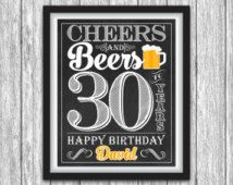 "Cheers and Beers Party Sign - Printable 30th Birthday Party Decorations - Any Age - 8""x10"" Welcome Sign - DIY Digital File"